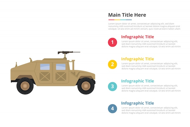 Humvee military infographics template with four points Premium Vector