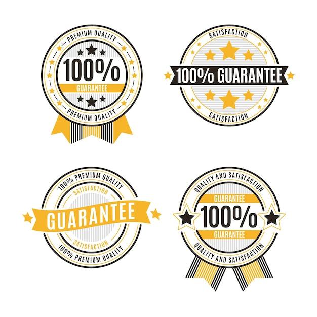 Hundred percent guarantee badges set Free Vector