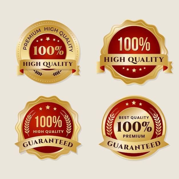 Raccolta di etichette di garanzia al cento per cento Vettore gratuito