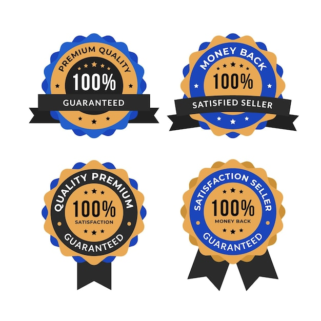 Hundred percent guarantee labels set Free Vector