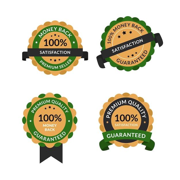 Hundred percent guarantee labels Free Vector