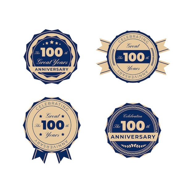 Значки столетнего юбилея Premium векторы
