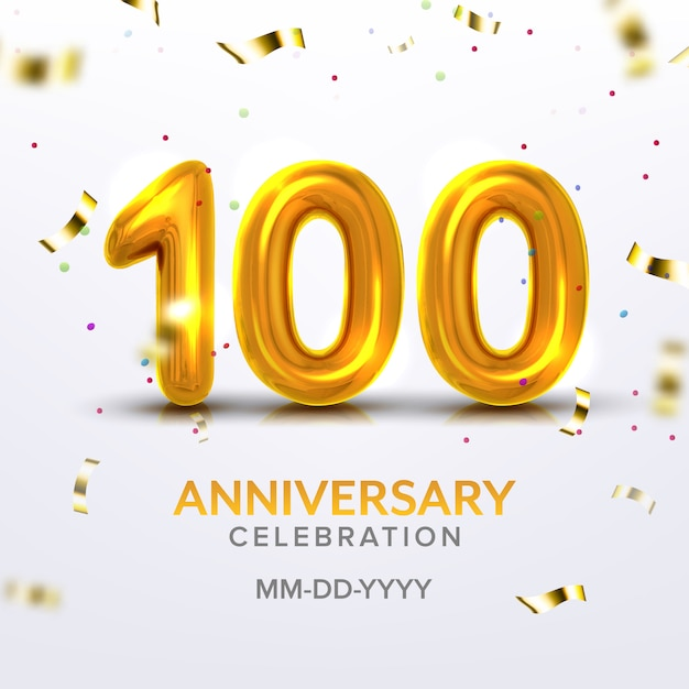 Hundredth anniversary celebration number Premium Vector