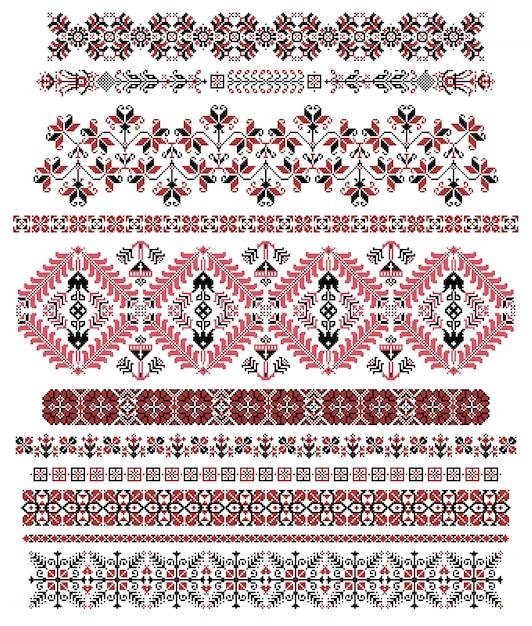 Hungarian pixel pattern borders Premium Vector
