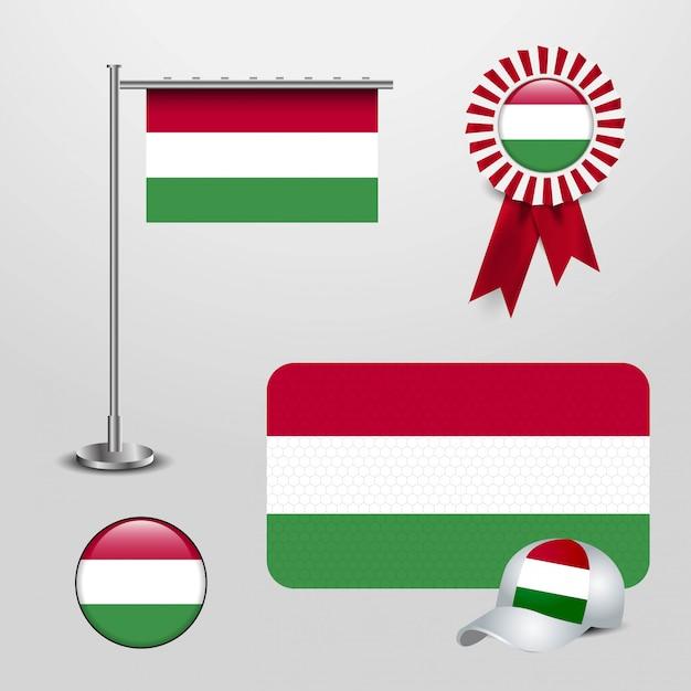 Hungary country flag set Premium Vector