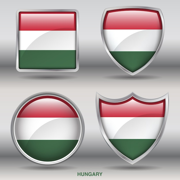 ハンガリーフラグベベル図形アイコン Premiumベクター