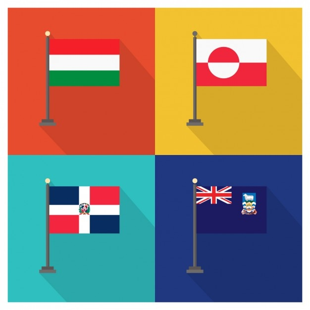 Hungary Greenland Dominican Republic And Falkland Islands Flags