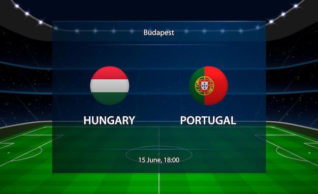 Premium Vector Hungary Vs Portugal Football Scoreboard