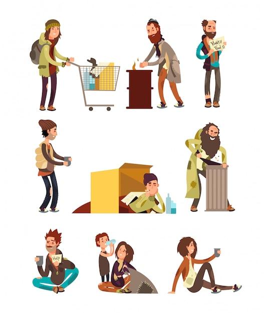 Hungry dirty homeless people. adult woman and man begging money vector characters set Premium Vector