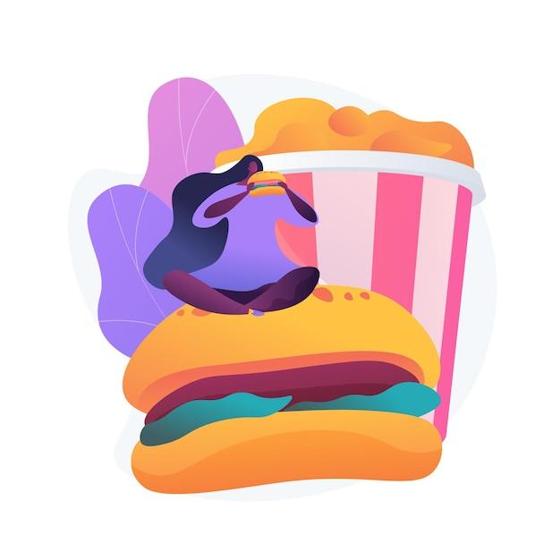 Голодная женщина ест гамбургер. пристрастие к фастфуду, переедание, калорийная еда. девушка с огромным аппетитом, перееданием и обжорством. Бесплатные векторы