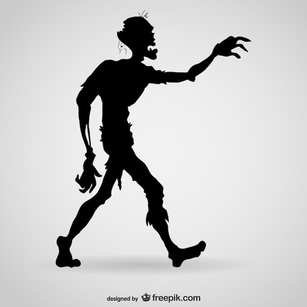 Hungry zombie silhouette Premium Vector