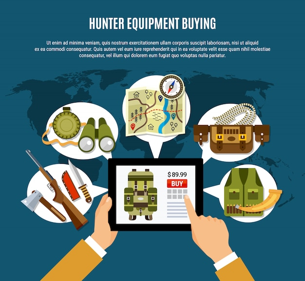 Hunter equipment composition Free Vector