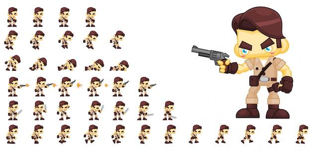 Hunter game character Premium Vector