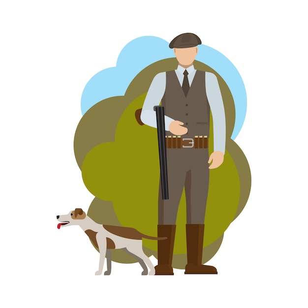 Hunter and his dog Premium Vector