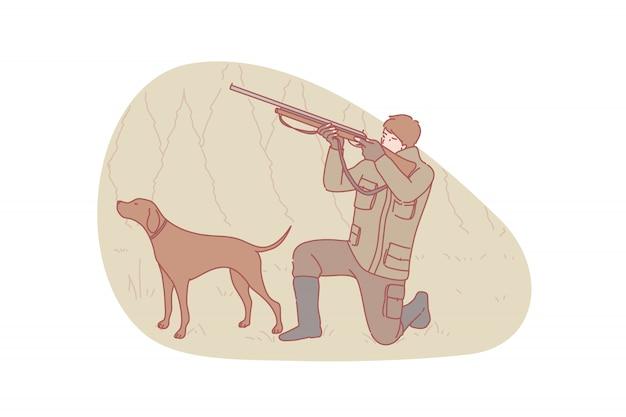 Охотник, охота, иллюстрация собаки Premium векторы