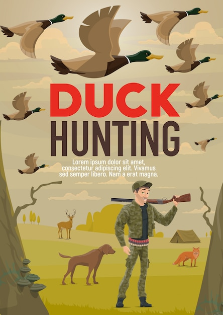 Hunter hunting duck with gun or rifle and dog Premium Vector