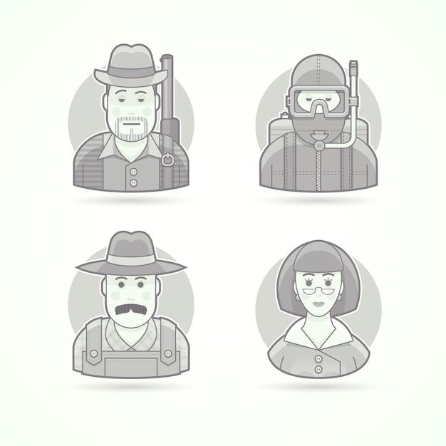 Охотник, аквалангист, сельский фермер, учительница. набор иллюстраций персонажей, аватаров и людей. черно-белый обрисованный в общих чертах стиль. Premium векторы