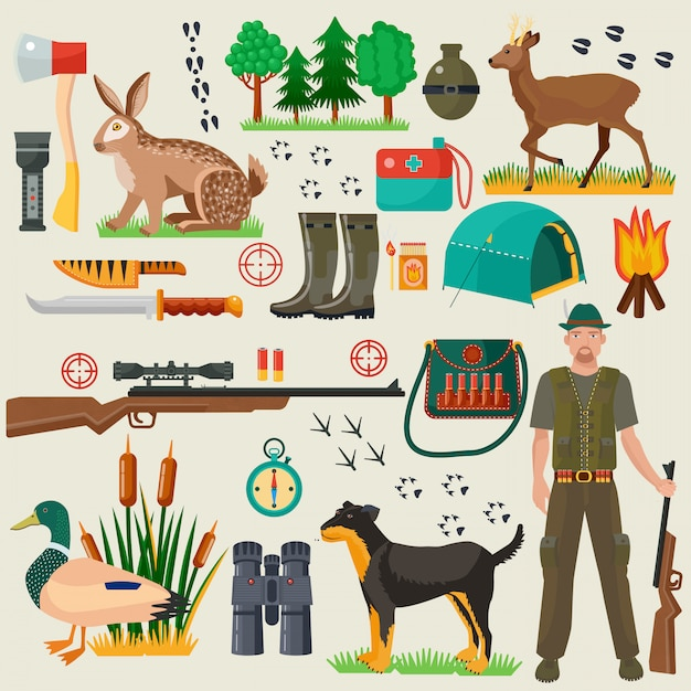 Hunter tourist tools icons set Premium Vector