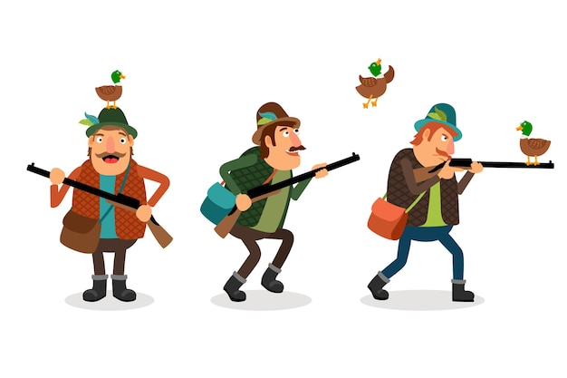 Hunter with gun. weapon and shotgun, hunting sport, duck and shooter Free Vector