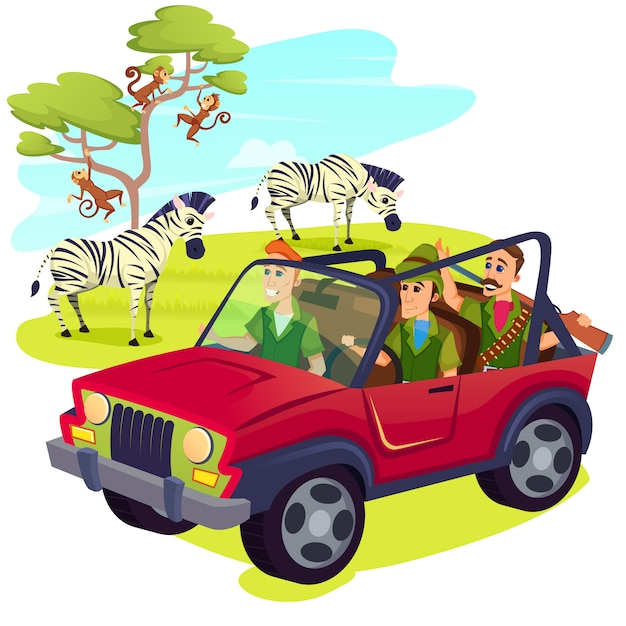 Hunters wearing weapon driving jeep on safari Premium Vector