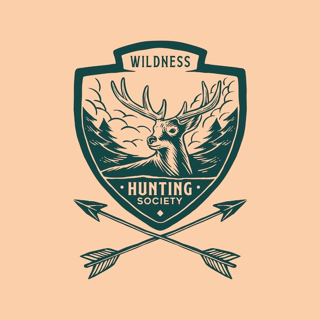 Hunting badge logo vintage Premium Vector