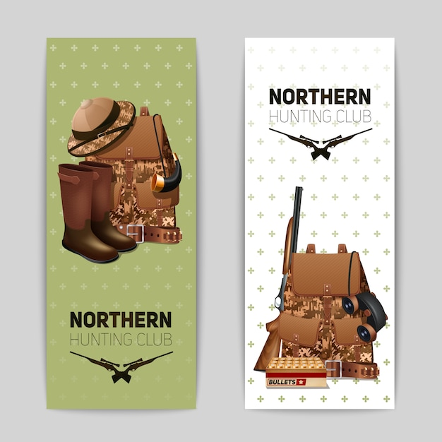 Hunting banners set Free Vector