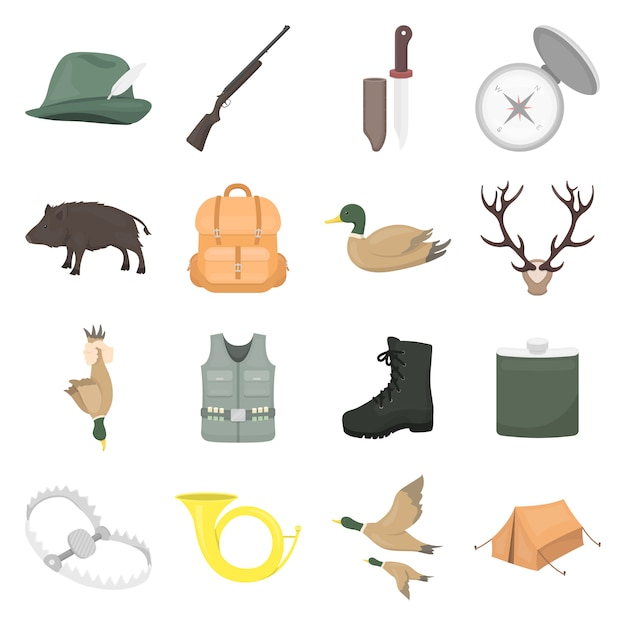 Hunting cartoon vector icon set. vector illustration of hunting . Premium Vector