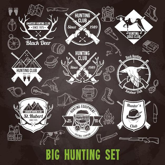Hunting chalkboard set Free Vector