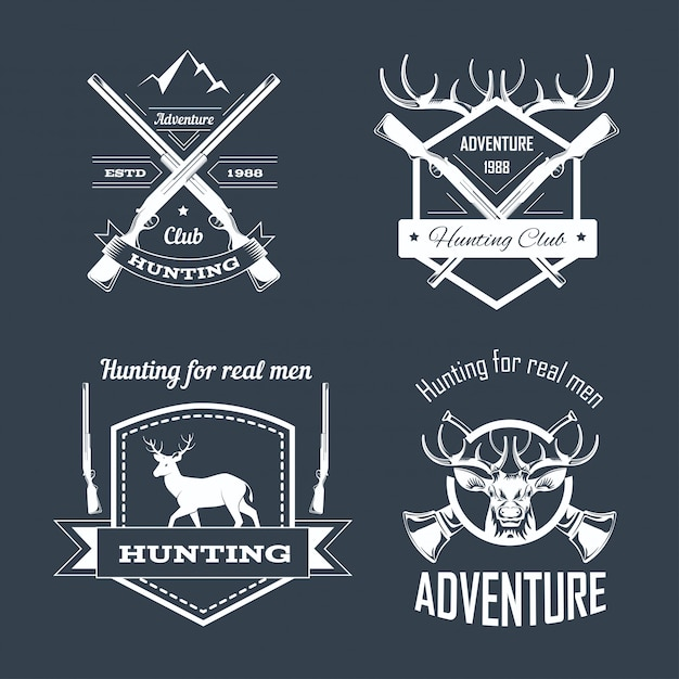Hunting club or hunt adventure logo templates set Premium Vector
