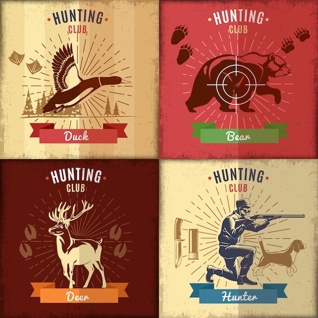 Набор этикеток охотничьего клуба Бесплатные векторы