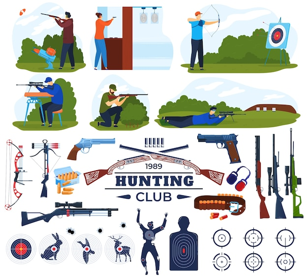 Hunting club vector illustration set, cartoon flat hunter equipment collection with shooting gallery and man holding gun weapon Premium Vector