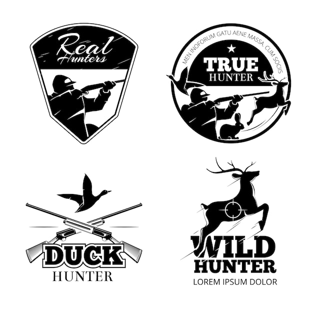 Hunting club vector labels and emblems set. animal deer, rifle and aim illustration Free Vector