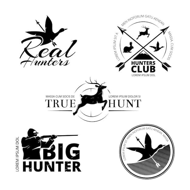 사냥 클럽 벡터 라벨, 로고, 엠블럼 세트. 동물 사슴과 소총, 목표와 순록 그림 무료 벡터