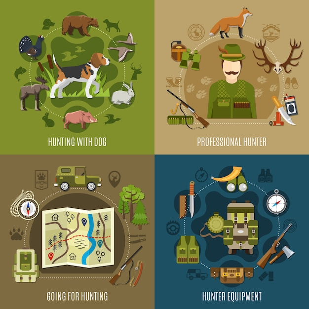 Hunting concept icons set Free Vector