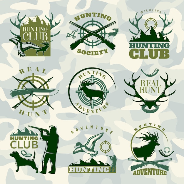 Hunting emblem set in color with hunting club hunting society and real hunt descriptions Free Vector