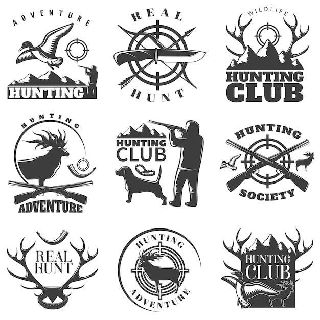 Hunting emblem set with adventure hunting hunting club and real hunt descriptions vector illustration Premium Vector