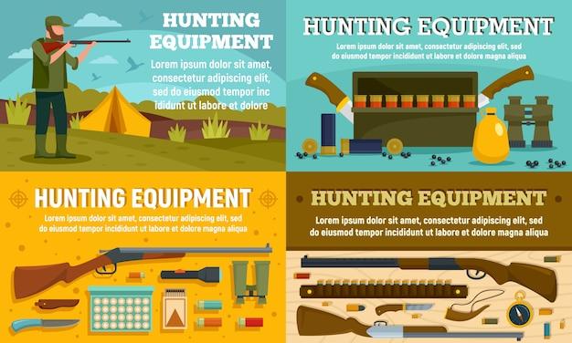 Hunting equipment banner set Premium Vector
