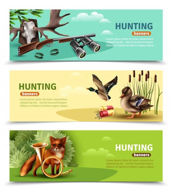Hunting horizontal banners Free Vector