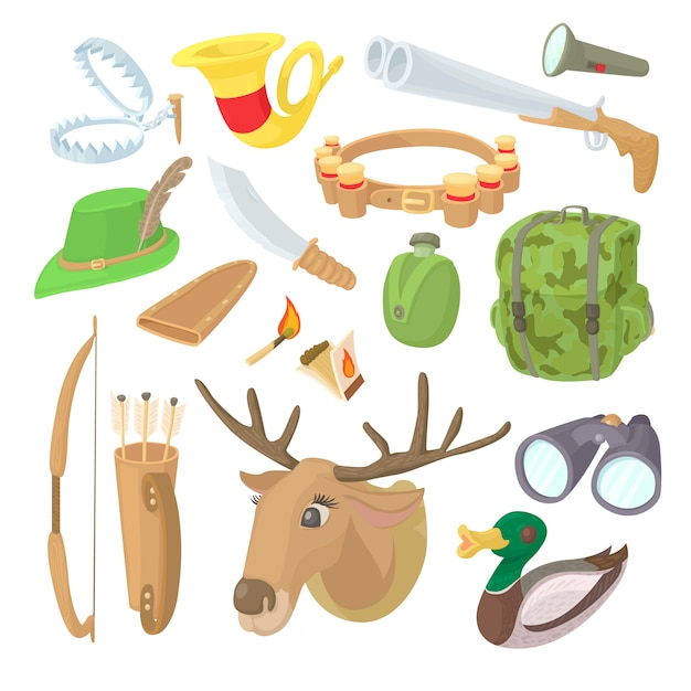 Hunting icons set in cartoon style Premium Vector