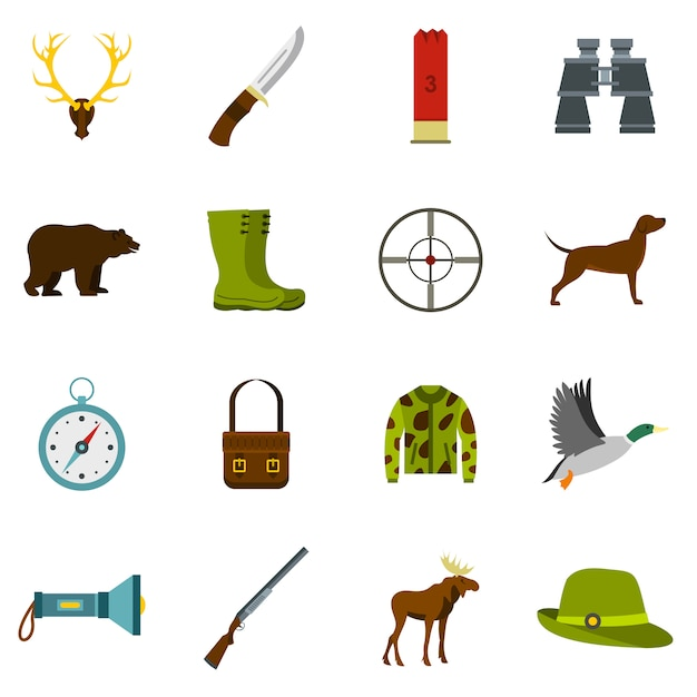 Hunting icons set in flat style Premium Vector