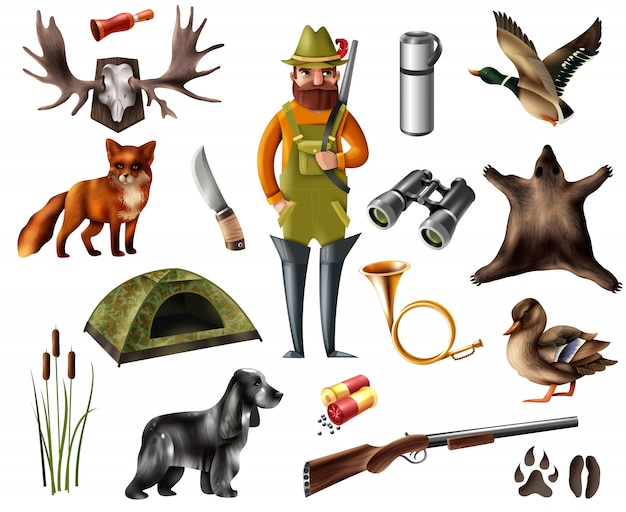 Hunting icons set Free Vector