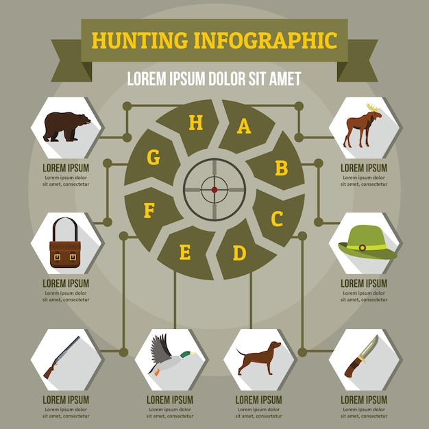 Hunting infographic concept, flat style Premium Vector