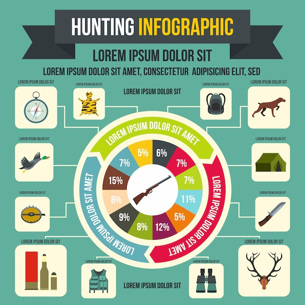 Hunting infographic elements in flat style for any design Premium Vector