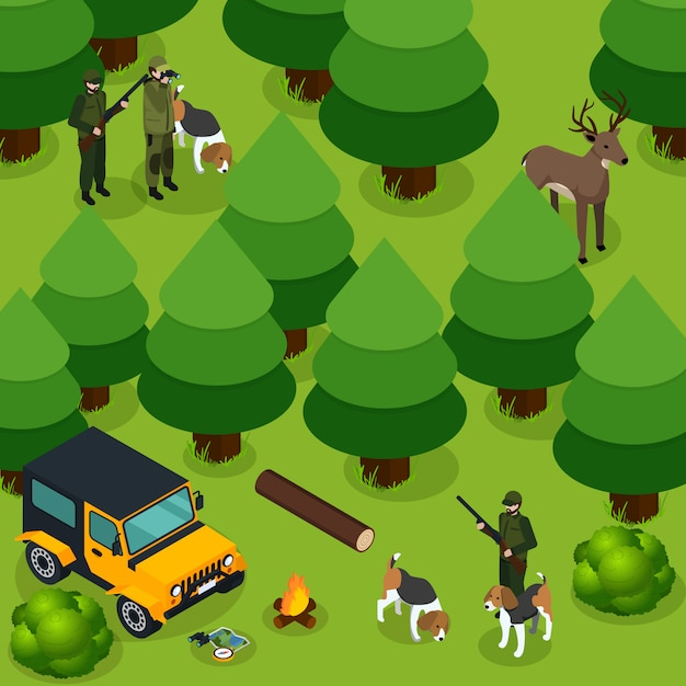 Hunting isometric composition Free Vector