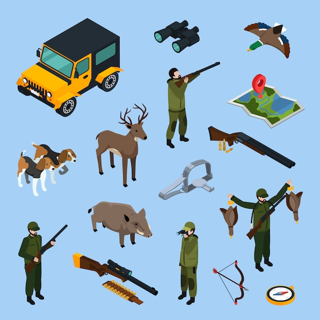 Hunting isometric icon set Free Vector