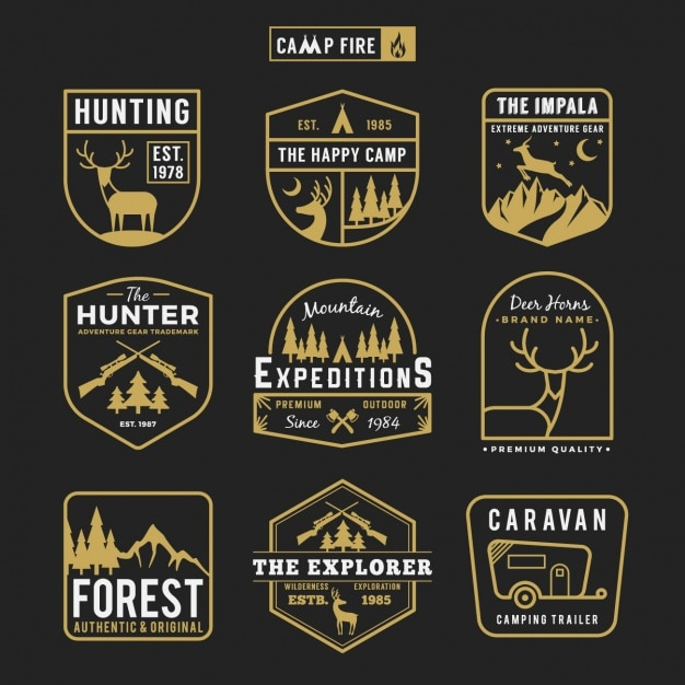 Hunting labels collection Free Vector