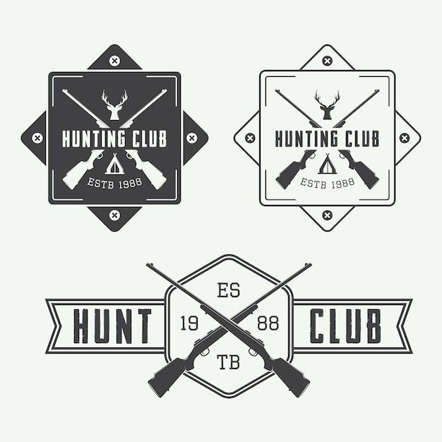 Набор охотничьих логотипов Premium векторы