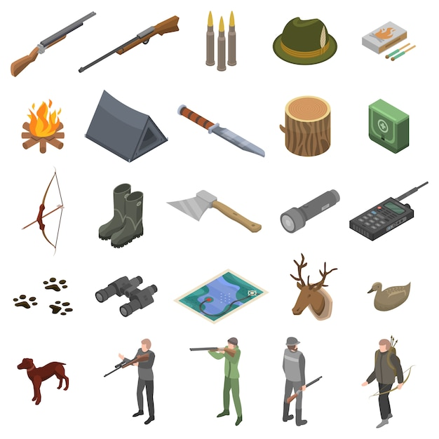 Hunting modern equipment icons set, isometric style Premium Vector