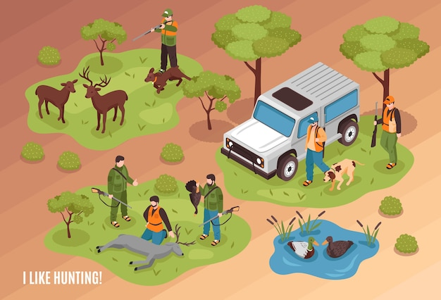 Hunting scene isometric composition with killed game animals jeep dogs and shooter aiming at deer Free Vector