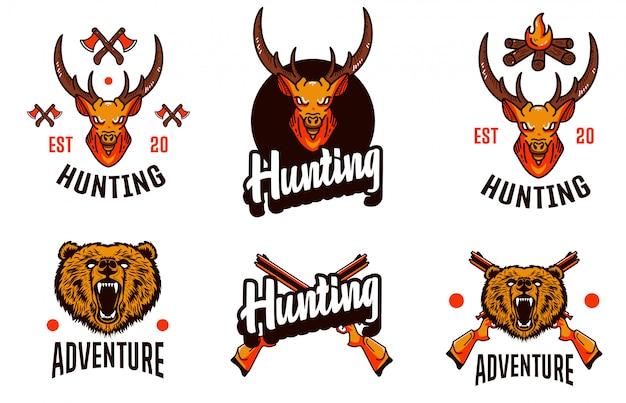 Охотничий набор deer template logo Premium векторы